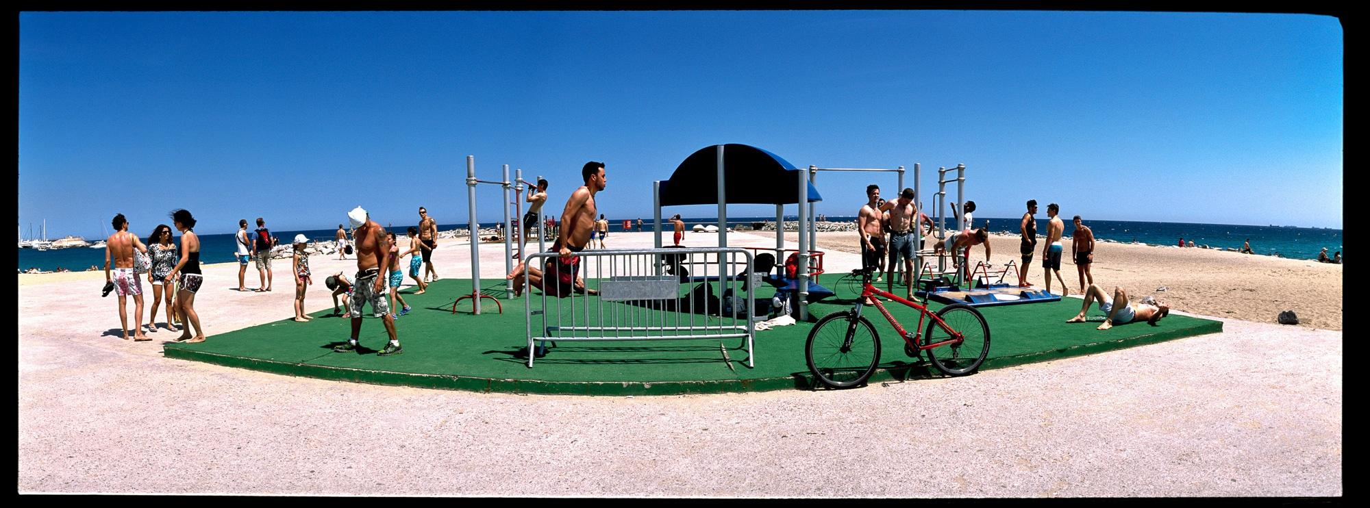 Fitnessplatz Barcelona Strand